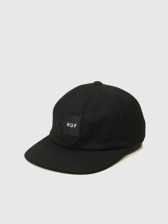 HUF Wool Box Logo 6 Panel Hat Black HT00258