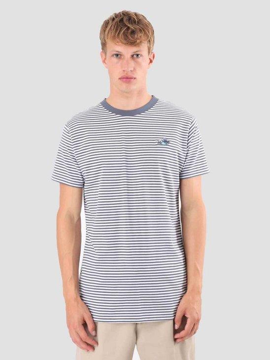 Wemoto Mountains Stripe T-Shirt Faded Blue-White 121.228-478