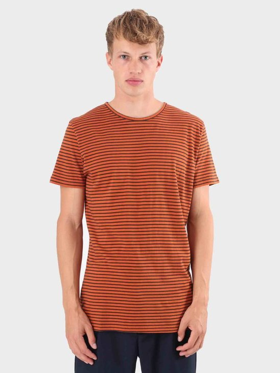 RVLT Striped T-Shirt Orange 1005