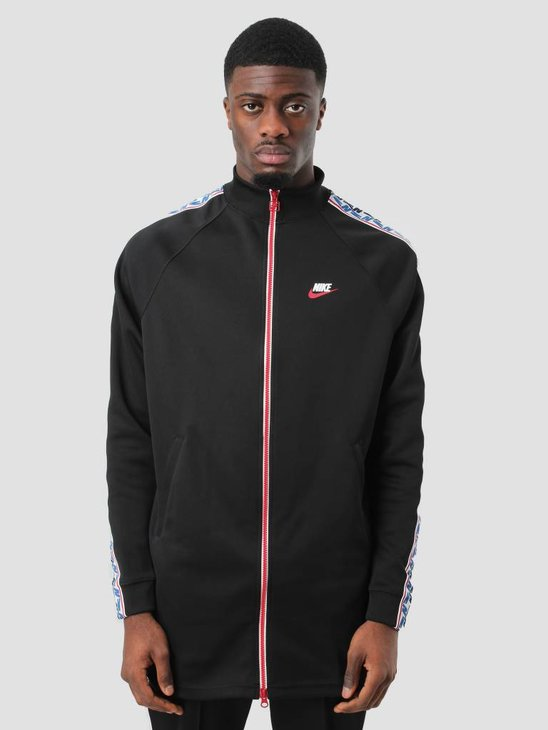 Nike NSW Taped Track Jacket Poly Black Gym Red Sail AJ2681-010