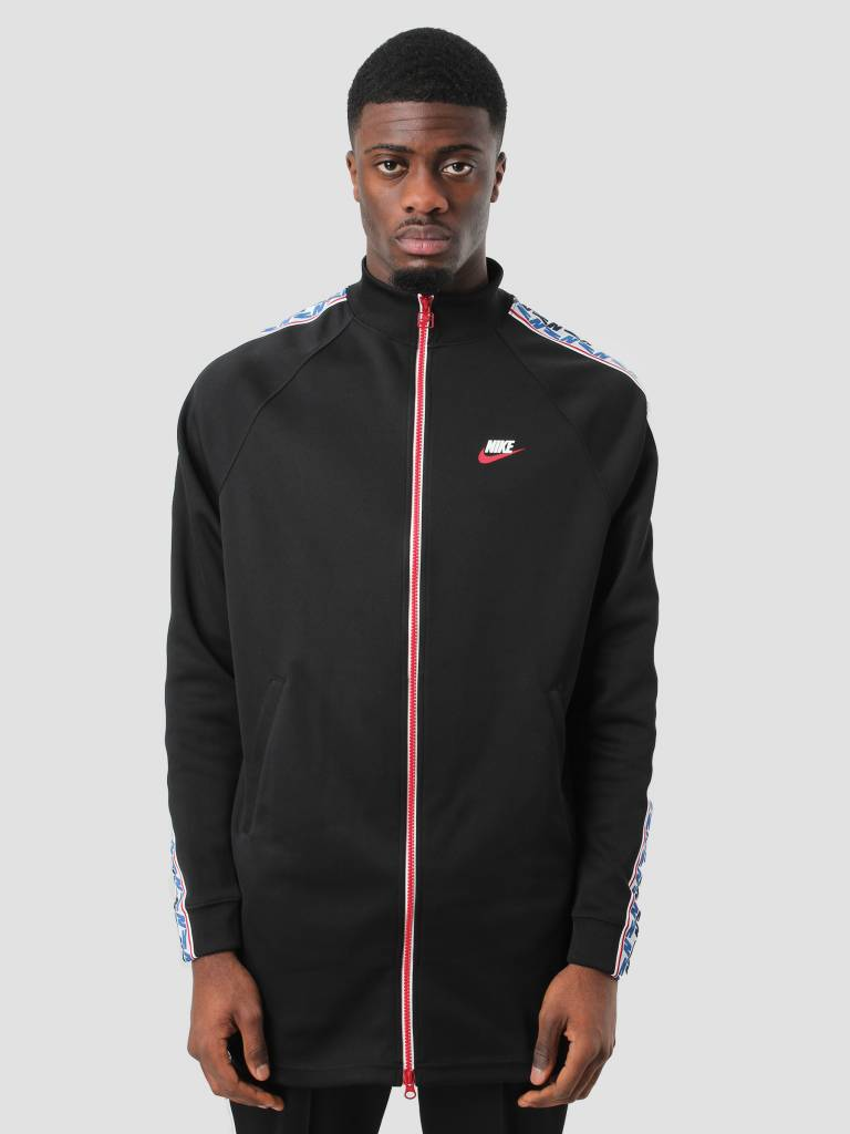 608078176432 Nike Nike NSW Taped Track Jacket Poly Black Gym Red Sail AJ2681-010