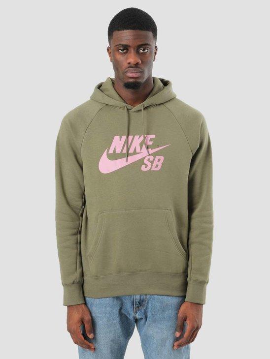 Nike SB Icon Hoodie Medium Olive Elemental Pink 846886-222