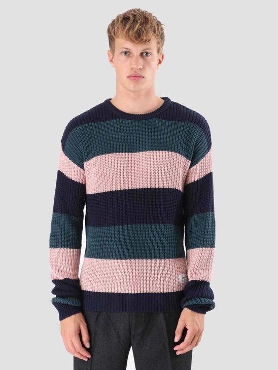Wemoto Colten Stripe Knitwear Atlantic Green 121.507-601