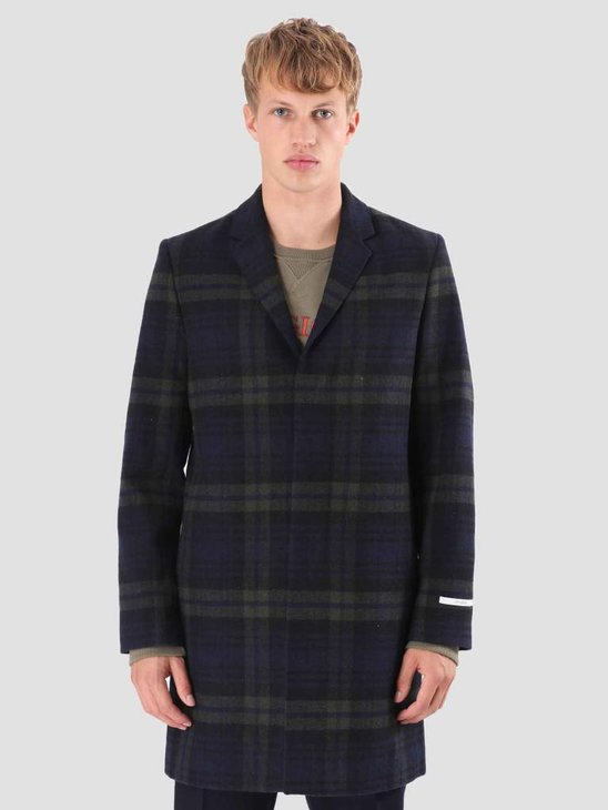 Les Deux Frielle Tailored Check Coat Green Navy LDM620007
