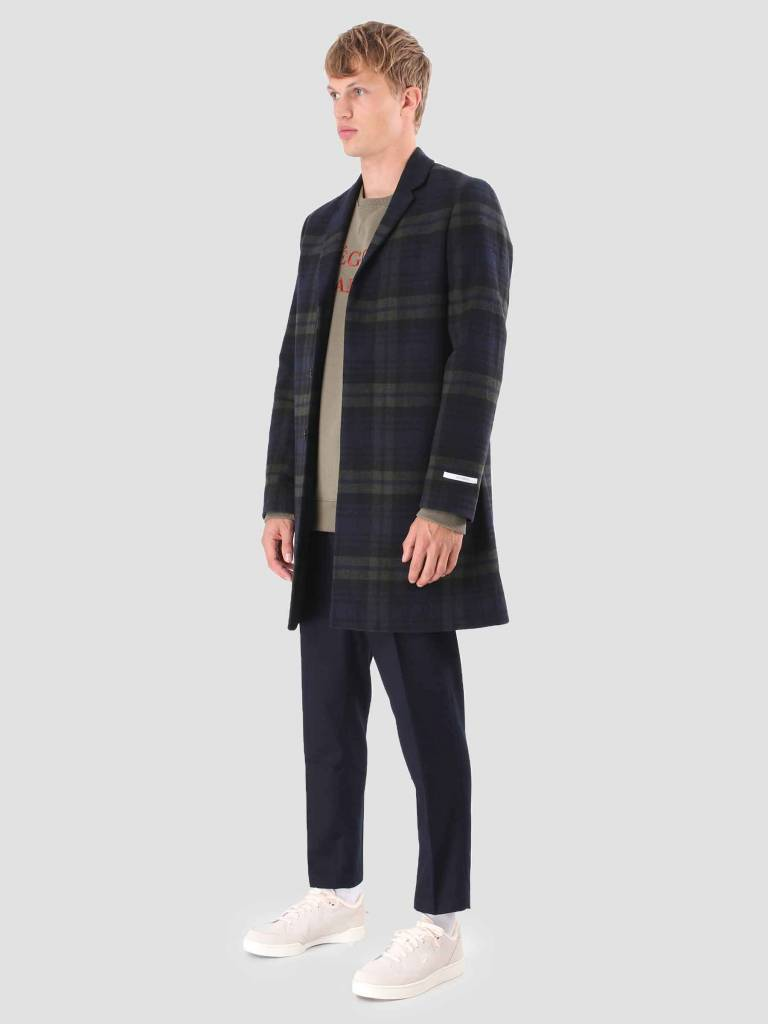Les Deux Les Deux Frielle Tailored Check Coat Green Navy LDM620007