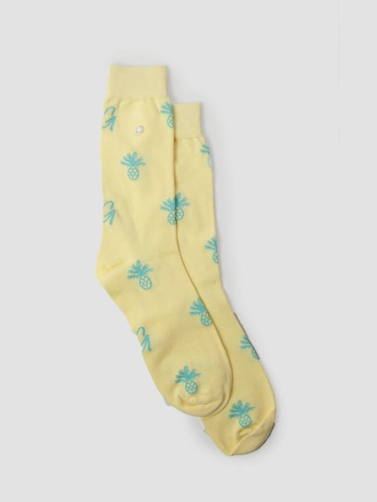 Alfredo Gonzales Pineapple Logo Socks Yellow Green AG-Sk-LO-04