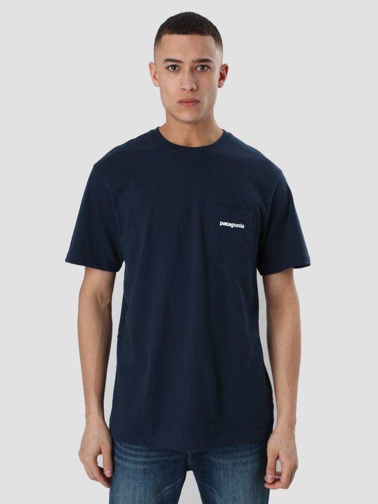 Patagonia P-6 Logo Pocket T-Shirt Navy Blue 38910