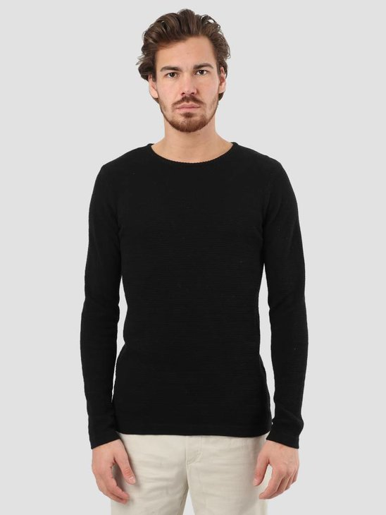 RVLT Slim Fit Pearl Structure Knit Black 6004