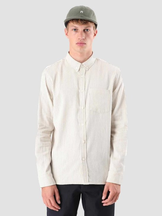 Native North Striped Herringbone Shirt Beige / Navy NNAW18007B