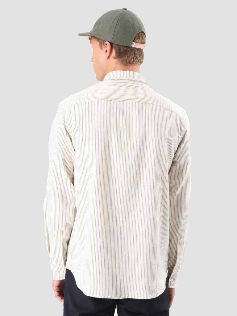Native North Native North Striped Herringbone Shirt Beige / Navy NNAW18007B