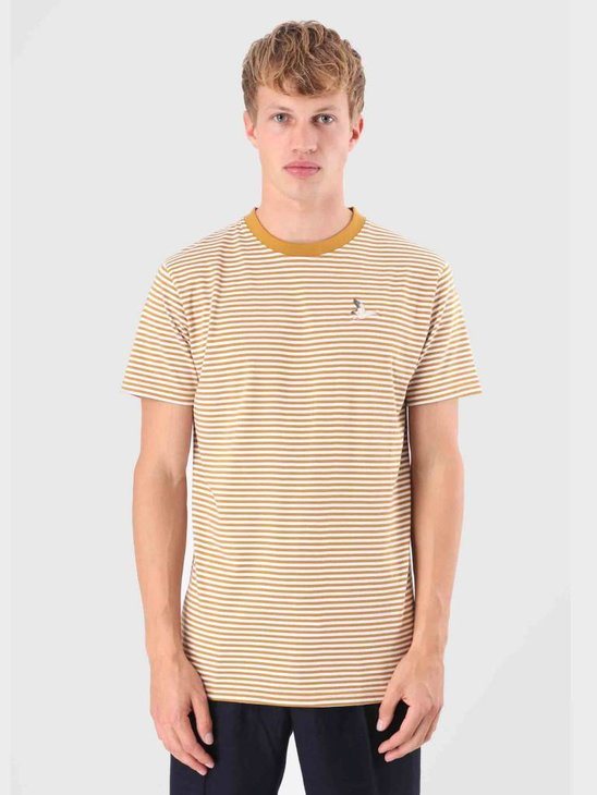 Wemoto Goose Stripe T-Shirt Golden Mustard-White 121.226-840