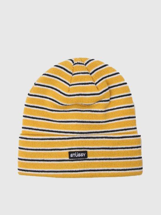Stussy Striped Fa18 Cuff Beanie Yellow 0201