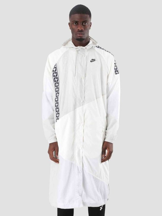 Nike Nsw Taped Woven Long Jacket Sail White Light Bone Black AR4943-133
