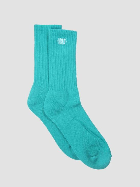 Obey New Times Embroidery Socks Teal White 100260111