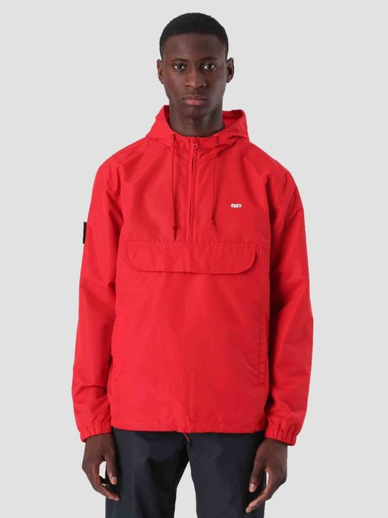 Obey Crosstown II Anorak Hot Red 121800337