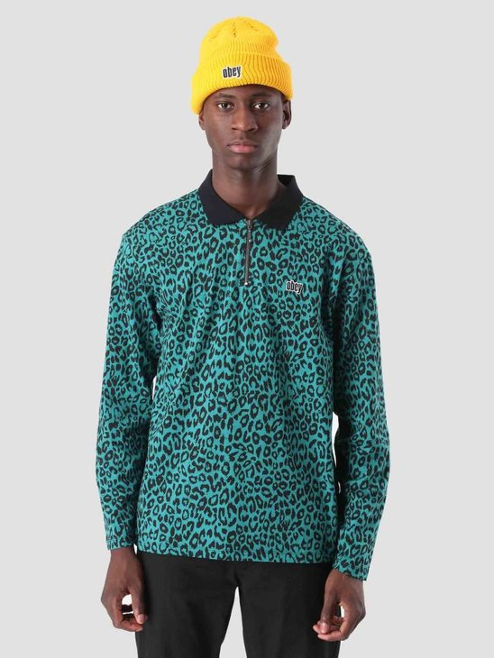 Obey Gimme Classic Polo Longsleeve Teal Leopard 131040016