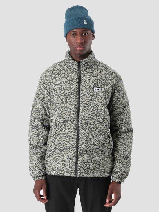 Obey Bouncer Puffer Jacket Khaki Leopard 121800336