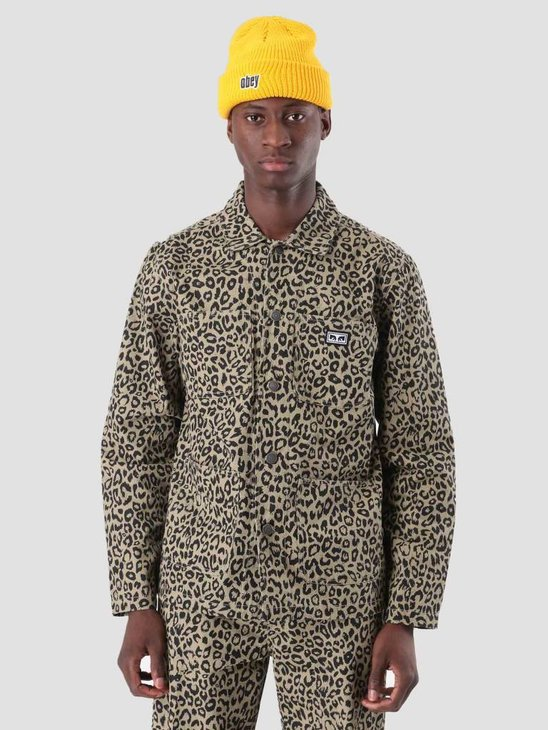 Obey Hard Work Labor Jacket Khaki Leopard 121800351