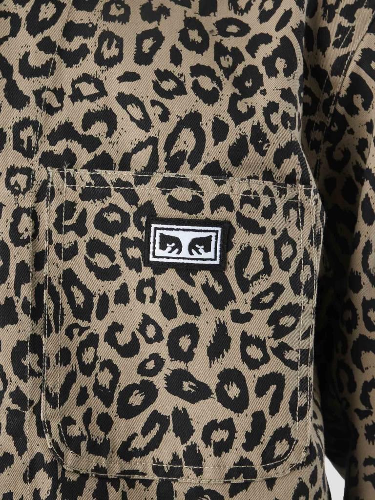 Obey Obey Hard Work Labor Jacket Khaki Leopard 121800351