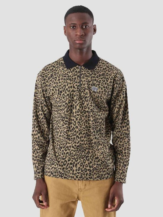Obey Gimme Classic Polo Longsleeve Khaki Leopard 131040016