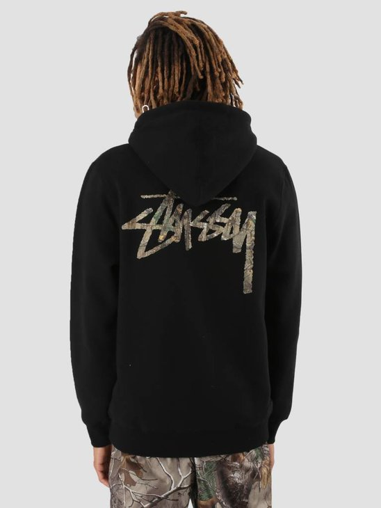 Stussy Camo Stock Zip Hoodie Black 0001