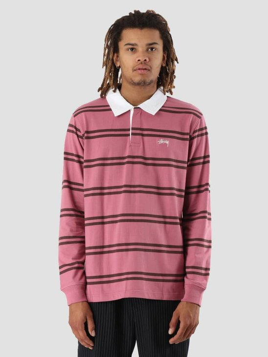 Stussy Desmond Stripe Longsleeve Rugby Pink 0604