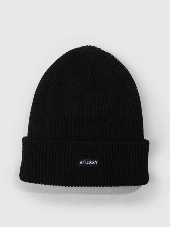 Stussy Small Patch Watchcap Beanie Black 0001