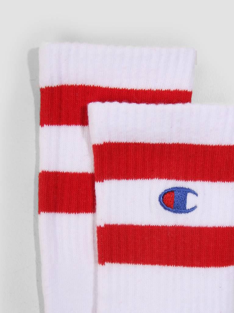 Champion Champion 1PP Tube Socks Crew Length WHT RED WW001 804471