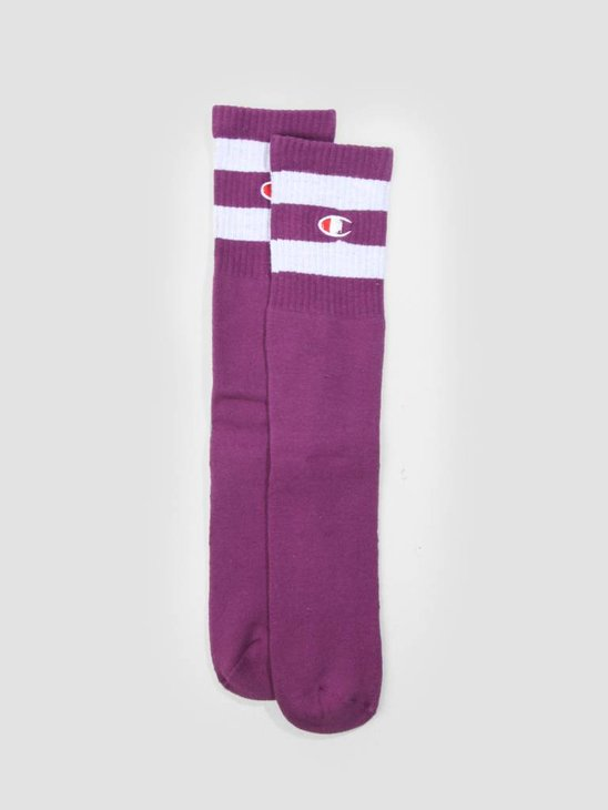 Champion 1PP Tube Socks Crew Length Purple GJU WHT VS029 804471