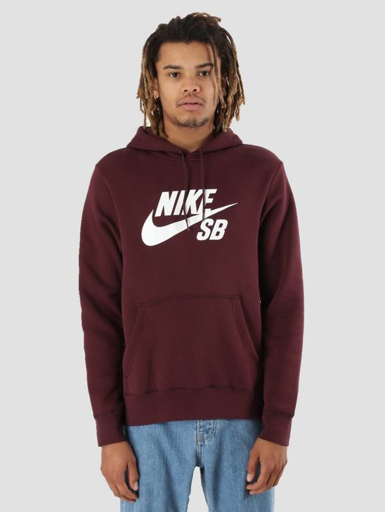 Nike SB Icon Hoodie Burgundy Crush White Aj9733-652