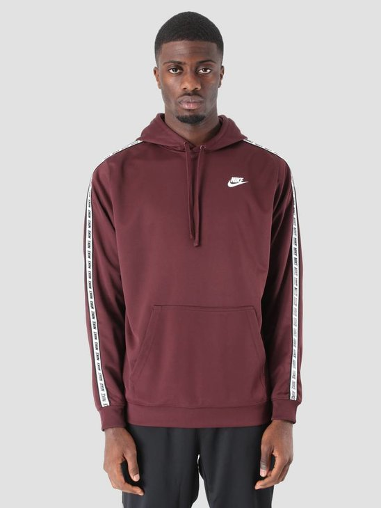Nike NSW Repeat Hoodie Poly Burgundy Crush  White Ar4914-652