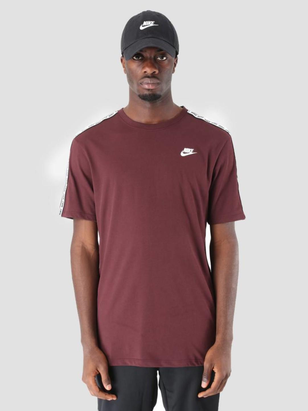 Nike Nike NSW Repeat T-Shirt Burgundy Crush White Ar4915-652