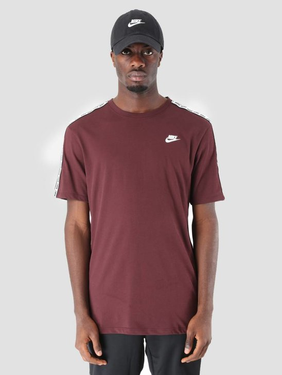 Nike NSW Repeat T-Shirt Burgundy Crush White Ar4915-652