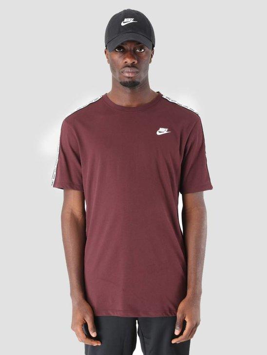 Nike NSW Repeat T-Shirt Burgundy Crush White Ar4915-652