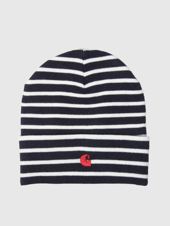Carhartt Robie Beanie Robie Stripe Dark Navy Snow Blast Red I021800-01I90