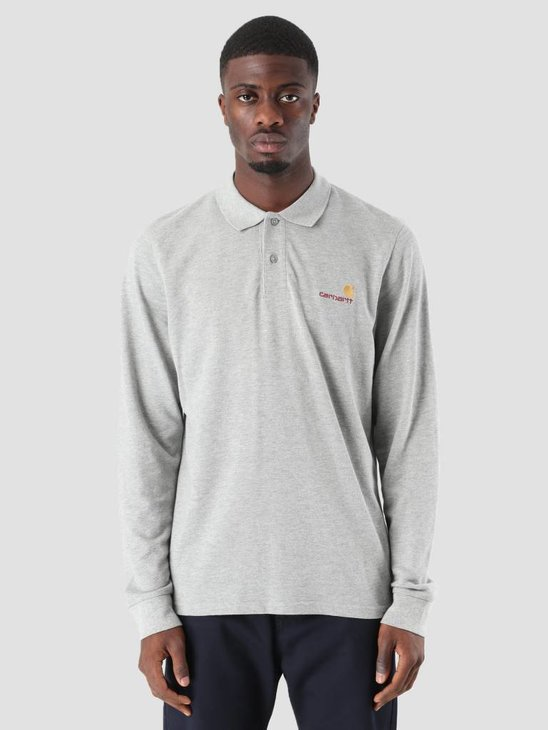 Carhartt American Script Polo Longsleeve Grey Heather I025503-V600