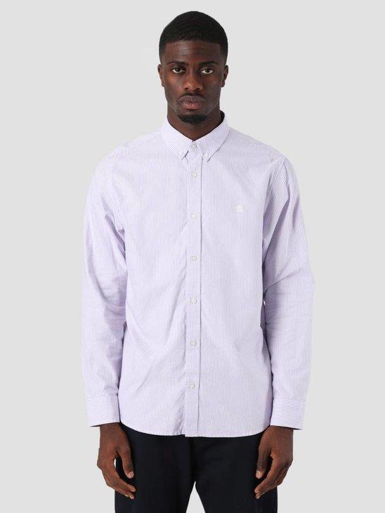 Carhartt Duffield Shirt Duffield Stripe Soft Purple White I025245-88790