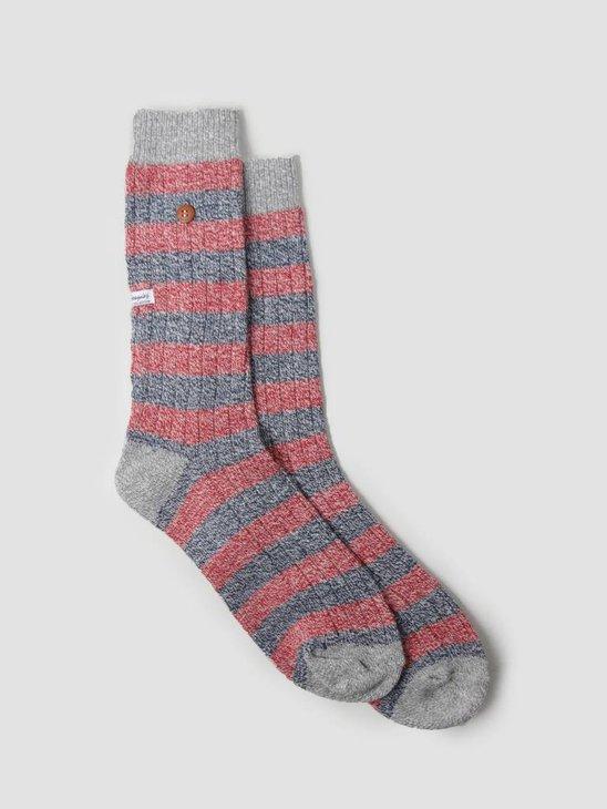 Alfredo Gonzales Twisted Wool Stripes Socks Red Navy Light Grey AG-Sk-TWSTR-01
