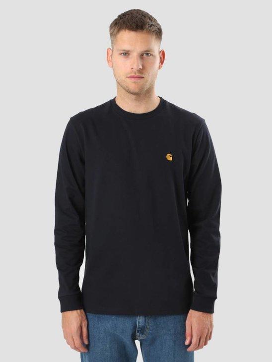 Carhartt Longsleeve Chase T-Shirt Dark Navy Gold I022923