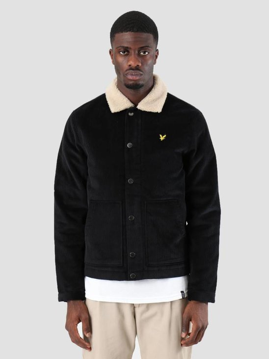 Lyle and Scott Jumbo Cord Shearling Jacket True Black JK906V