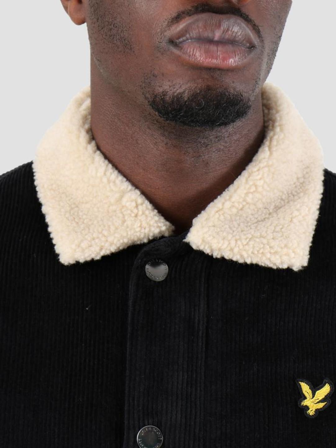 Lyle and Scott Lyle and Scott Jumbo Cord Shearling Jacket True Black JK906V