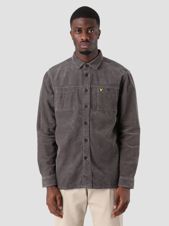 Lyle and Scott Cord Overshirt Urban Grey LW907V