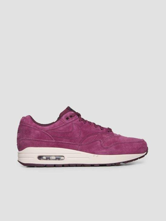 Nike Air Max 1 Premium Shoe Bordeaux Bordeaux Desert Sand 875844-602