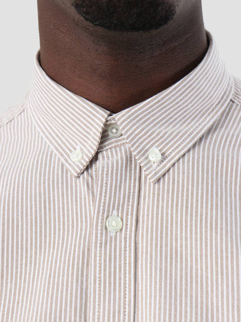 Carhartt Carhartt Duffield Shirt Duffield Stripe Hamilton Brown White I025245-HZ90