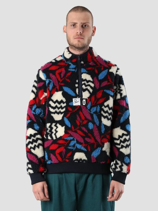 By Parra Still Life With Plant Sherpa Fleece Pullover Multi Color 41910
