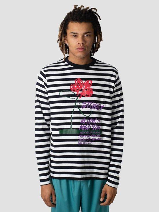 Stussy Flower Stripe Crew Knit Sweater Black 0001