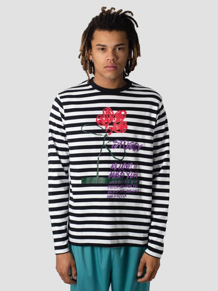 Stussy Stussy Flower Stripe Crew Knit Sweater Black 0001