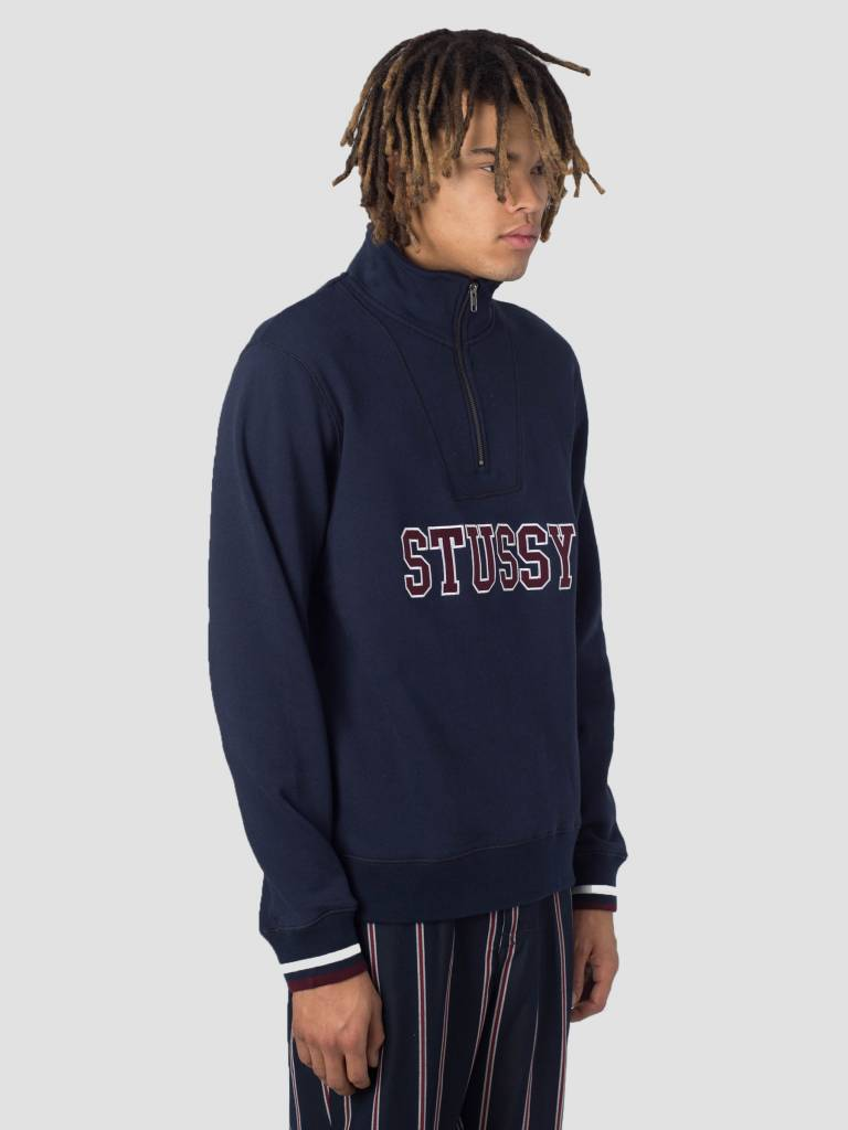 Stussy Stussy Contrast Rib Mock Neck Crew Navy 0806