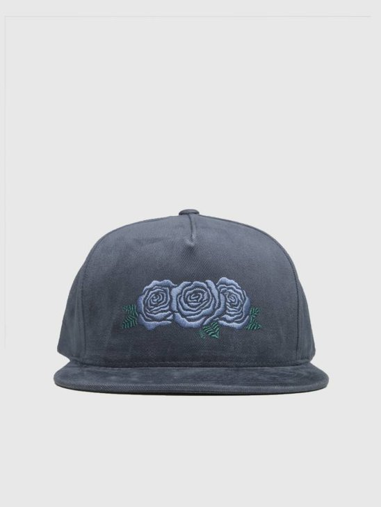 HUF Triple Rose Snapback Hat Moon Indigo Ht00284