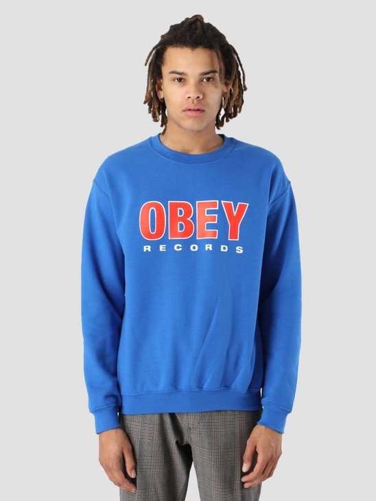 Obey OBEY Records 2 Fleece Crew Royal blue 114981786-RYL